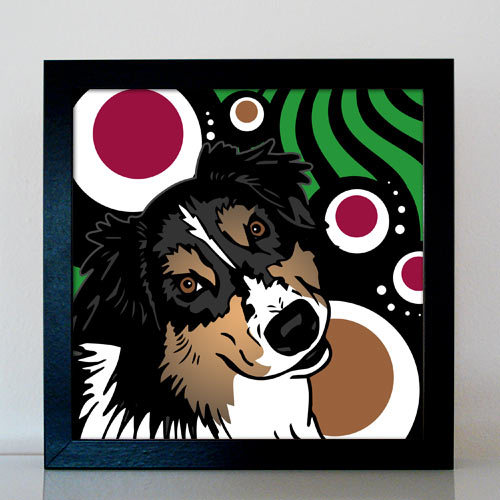 Hund Australian Shepherd Pop Art Retro Bild Tierportrait von bg-color.de