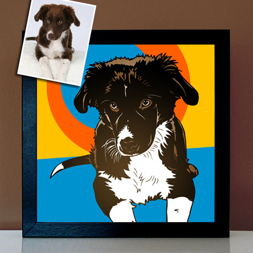 Pop Art Tierportrait Hund nach Foto